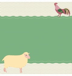 Rural style card with sheep and rooster vector