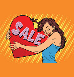 Beautiful young woman hugging sale valentine heart vector