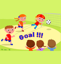 Goal friends playing soccer at the park vector