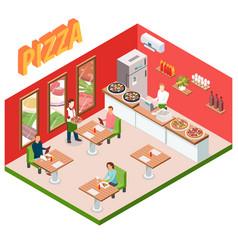 Isometric pizzeria background vector