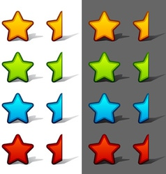 Whole and half rating stars with shadow vector