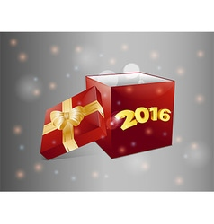 Gift box 2016 over glowing background vector image