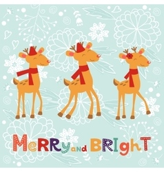 Colorful merry christmas composition with happy vector