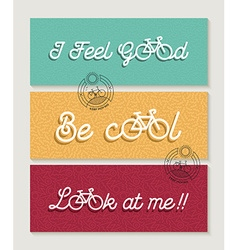 Biking banner set bicycle concept motivation quote vector
