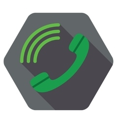 Dial flat hexagon icon with long shadow vector