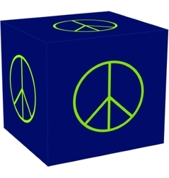 3d cube with the peace sigh vector