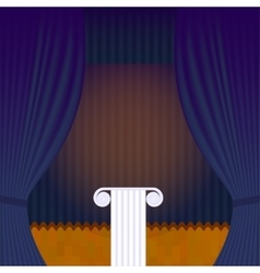 Scene with blue theater curtain and pedestal vector