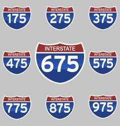 Interstate signs 175-975 vector