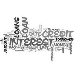 A little lesson on loans text word cloud concept vector