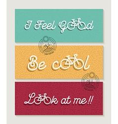 Biking banner set bicycle concept motivation quote vector