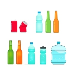 Bottles collection isolated on white full vector image