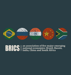 Brics union members national flags vector