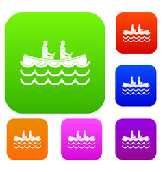 Canoeing set collection vector