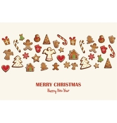 Christmas card or invitation with gingerbread vector
