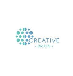 Circles abstract logo creative brain vector