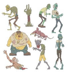 Creepy Zombies Outlined Drawings vector image vector image