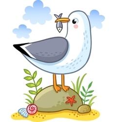 Cute cartoon seagull vector image