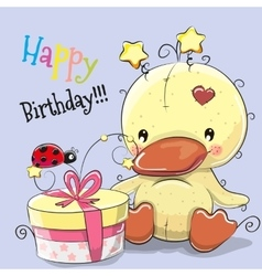 Cute Duck with gift vector image vector image