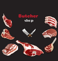 design template for meat marketbutcher shop vector image