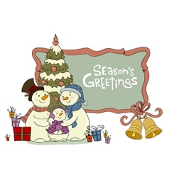 Family of the snowman near to a Christmas fur-tree vector image