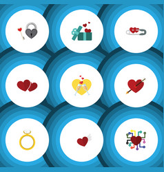 Flat icon amour set of celebration soul gift and vector