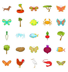 Flower insects icons set cartoon style vector