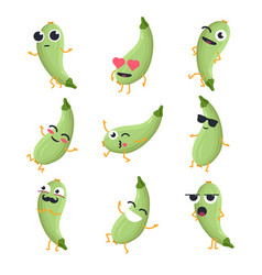 Funny zucchini - isolated cartoon emoticons vector