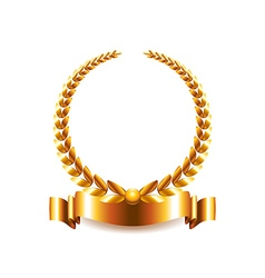 Golden laurel wreath isolated on white vector image vector image