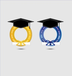 Graduating design with gold and blue vector