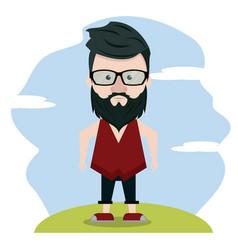 hipster over landscape vector image vector image