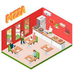isometric pizzeria background vector image