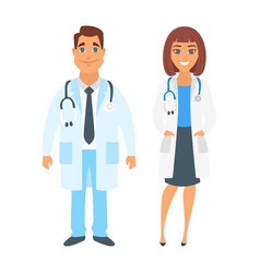 man and woman doctor vector image vector image