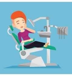 Man suffering in dental chair vector