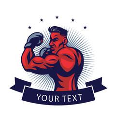 Mma fighter logo design template mascot vector