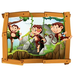 Monkeys and cave in the wooden frame vector