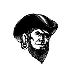 pirate wearing eye patch scratchboard vector image vector image