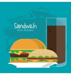 sandwich soda drink lunch snack icon vector image vector image