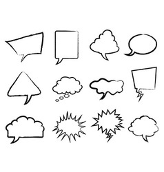 Speech bubbles outline set vector image