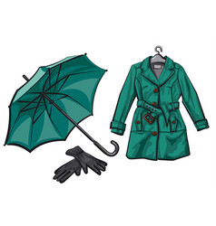 umbrella gloves and raincoat vector image
