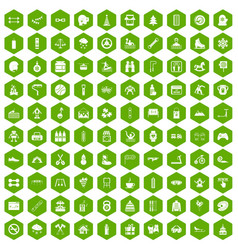 100 children activities icons hexagon green vector image