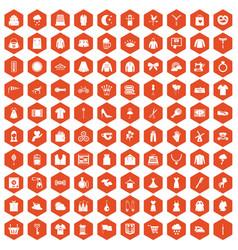 100 dress icons hexagon orange vector