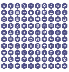 100 eco care icons hexagon purple vector