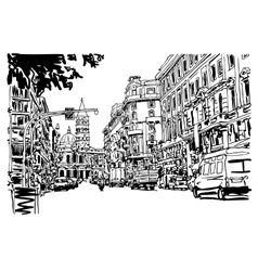 Original black and white urban architectural vector