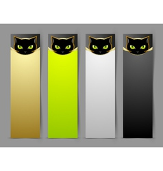 Black cat head banners vector image