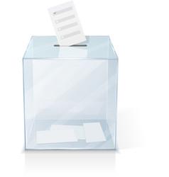 Realistic glass transparent ballot box vector