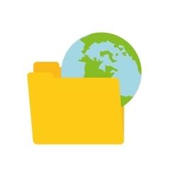 Folder data global technology computing vector