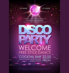 Disco ball background disco party poster vector