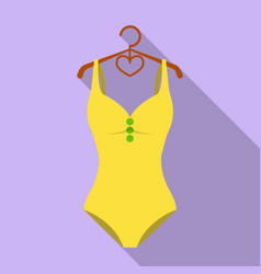 monotone yellow swimsuit for girls bathing vector image