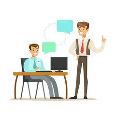 Colleagues working in modern office with laptop vector