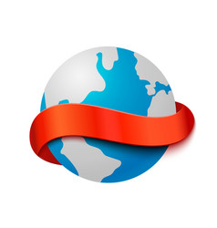 Travel concept big earth globe with curve red vector